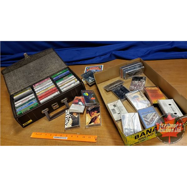 Tray Lot: Cassette Tapes (Mostly Country Music (40+) & Case