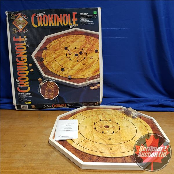 Deluxe Crokinole Game (Checkers & Backgammon on Back)