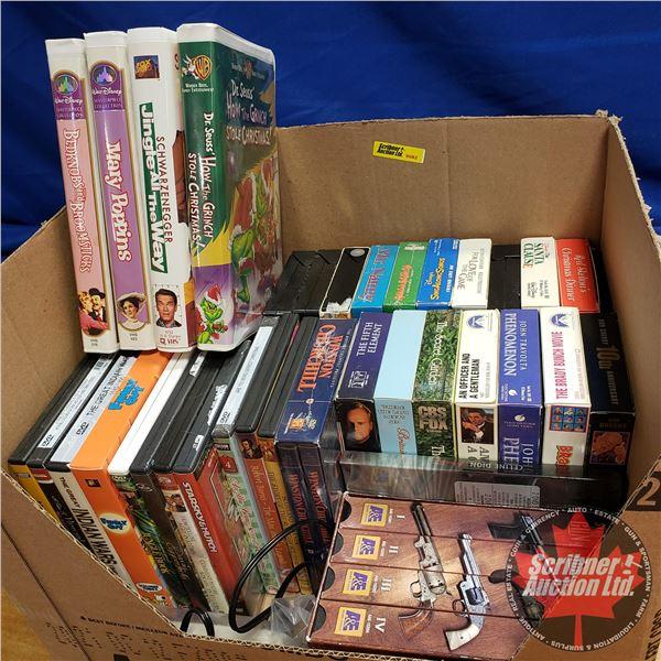 Box Lot: VHS & DVD's (Variety) (See Pics)