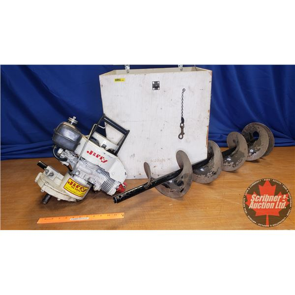 """Jiffy 8"""" Ice Auger in Wooden Storage Box"""