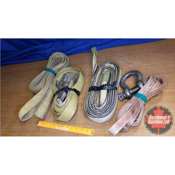 Box Lot: Tow Straps (2), Pipe Sling, Ratchet Strap & Clevis