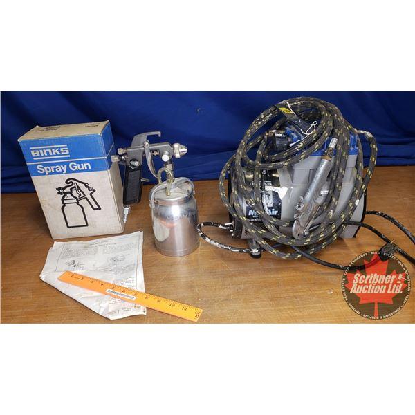 Binks Paint Spray Compressor, 2 Spray Guns (Note: No Paint Pot)