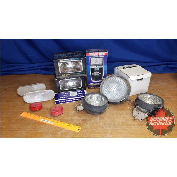 Box Lot: Variety of 12 Volt Lighting & Tach Dwell Meter