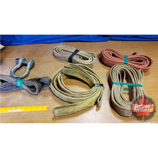Box Lot: Lift Straps (4), 1 Pipe Sling, 1 Clevis