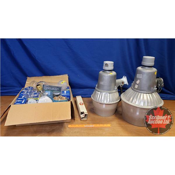 Box Lot: Variety of Rough Service Bulbs & Yard Lights (2) etc
