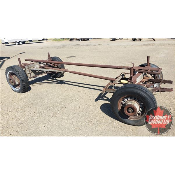 Old Pull Wagon Frame & Hitch (Length no hitch 13' / with Hitch 25')