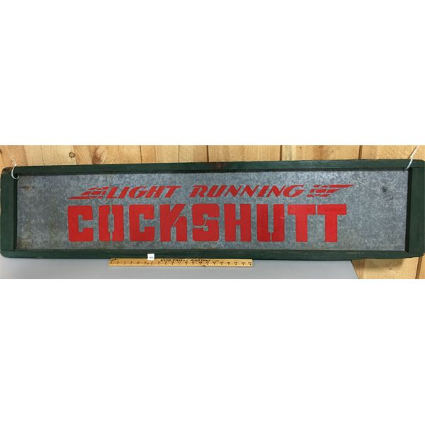 COCKSHUTT TIN SIGN WITH WOOD FRAME