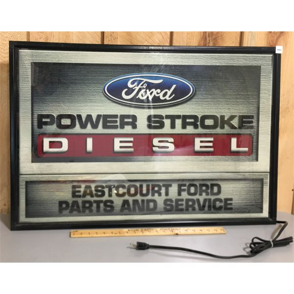 FORD POWER STROKE DIESEL LIGHT UP PARTS & SERVICE DEPARTMENT SIGN