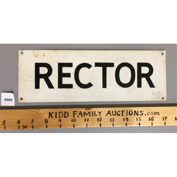 RECTOR TIN SIGN