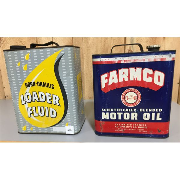 LOT OF 2 CANS: FARMCO CO-OP AND HORN-DRAULIC LOADER FLUID