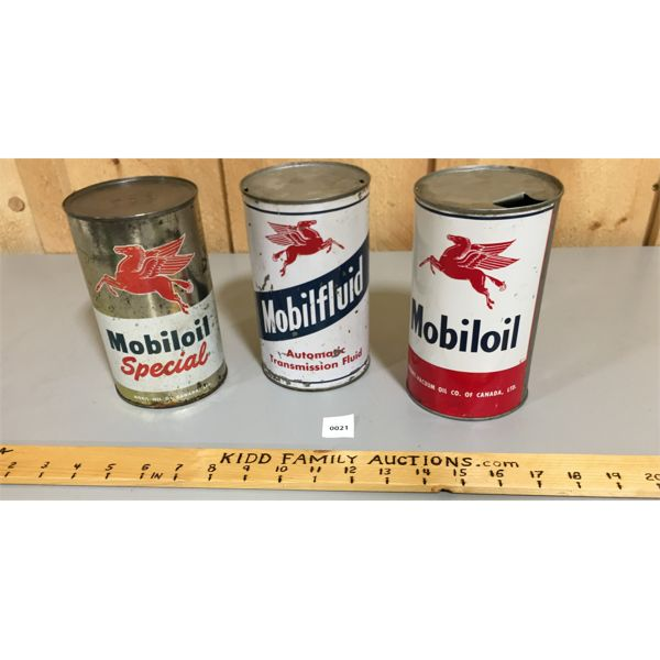 LOT OF 3 MOBIL OIL IMPERIAL QUART CANS