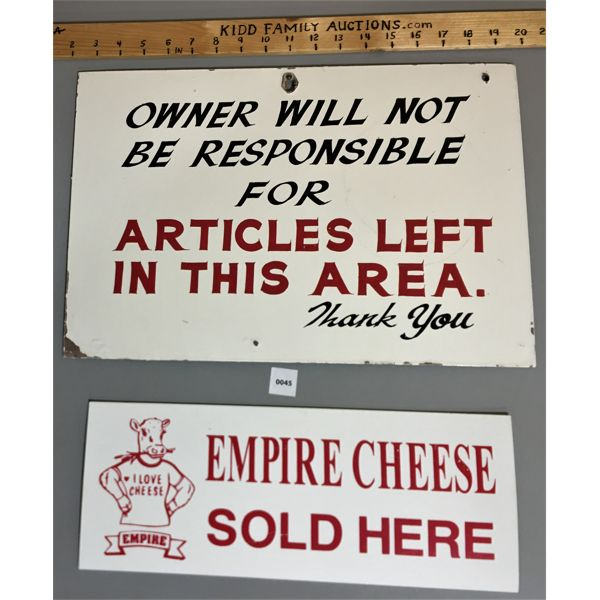 LOT OF 2 SIGNS, INCL. EMPIRE CHEESE SIGN