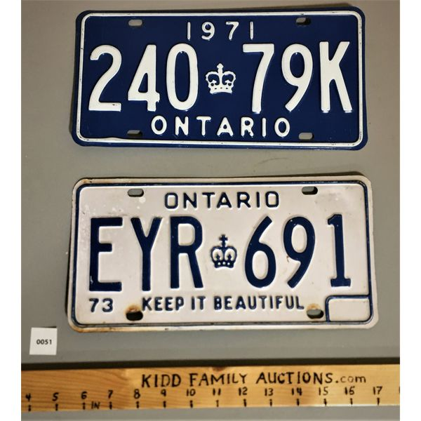 LOT OF 2 ONTARIO LICENSE PLATES