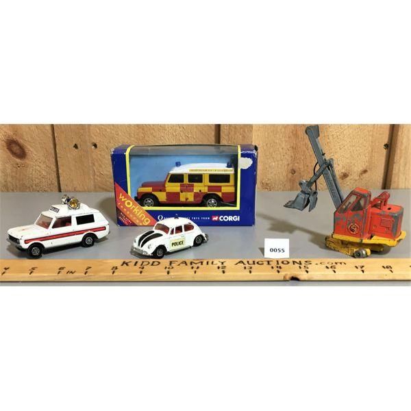 LOT OF 4 CORGI TOY CARS, INCL. 57905 STILL IN BOX