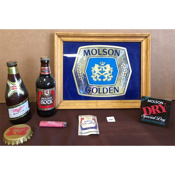MOLSON FRAMED ADVERTISMENT & LOT OF COLLECTIBLES