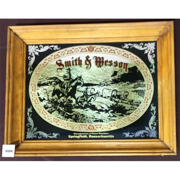SMITH & WESSON FRAMED MIRROR ADVERTISMENT