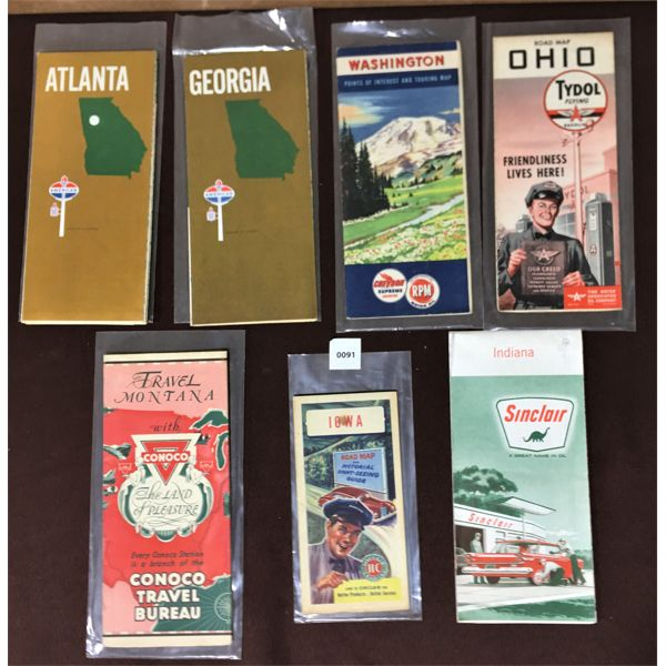 LOT OF 7 GAS & OIL ROAD MAPS
