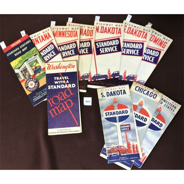 LOT OF STANDARD OIL COMPANY ROAD MAPS, 11 TOTAL