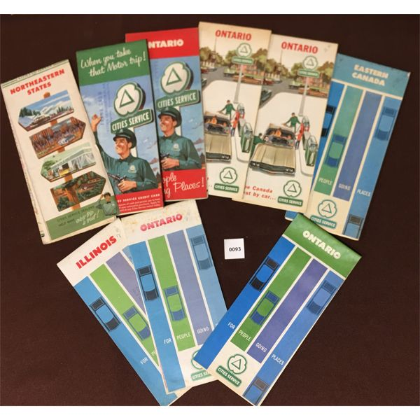 LOT OF 9 CITIES SERVICE ROAD MAP