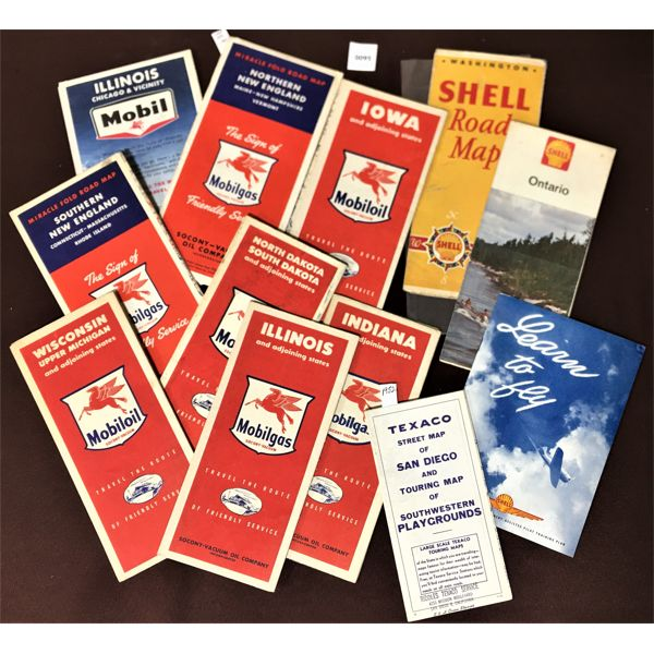 LOT OF 12 MOBIL & SHELL ROAD MAPS
