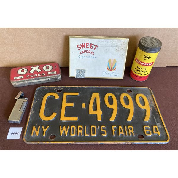 LOT OF TINS WITH LICENSE PLATE