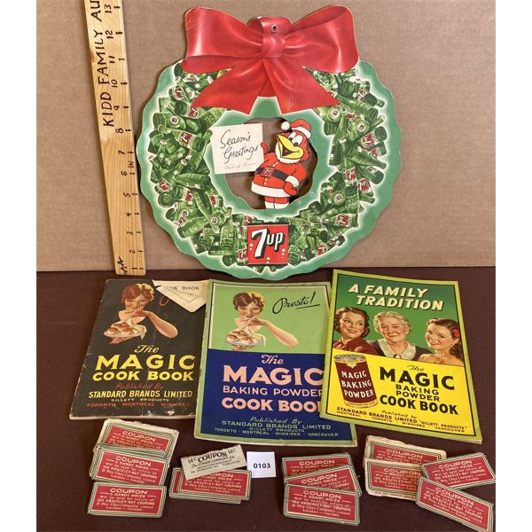 LOT OF MAGIC COOK BOOKS AND CARDBOARD 7UP ADVERTISING