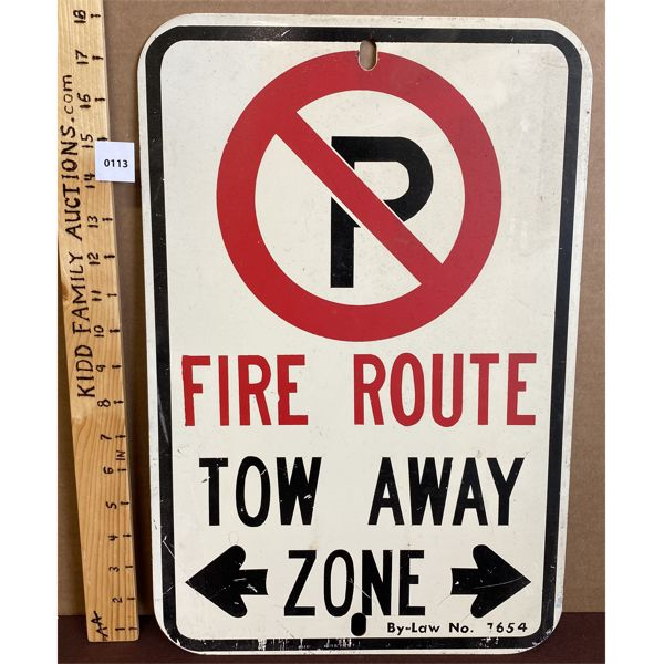 NO PARKING FIRE ROUTE METAL SIGN