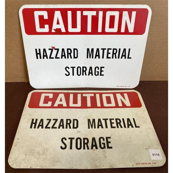 LOT OF 2 HAZARD MATERIAL STORAGE METAL SIGNS