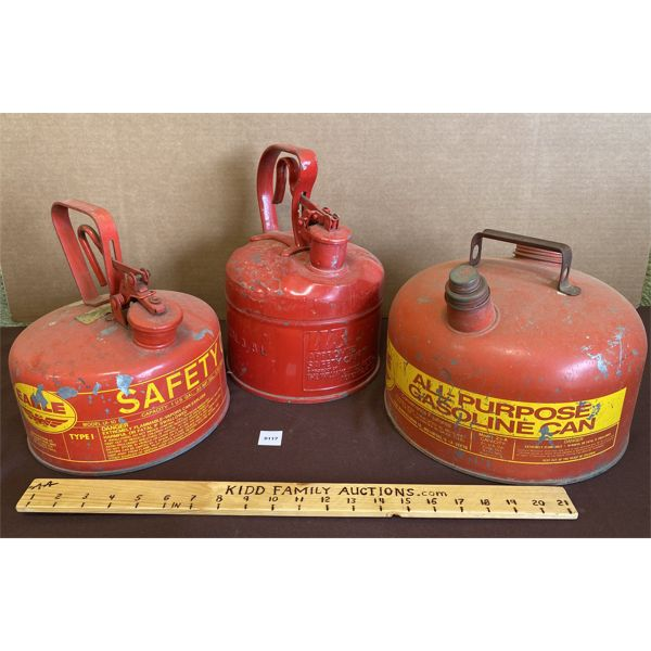 LOT OF 3 METAL GAS CANS