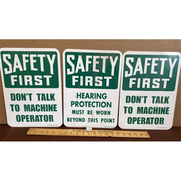 LOT OF 3 SAFETY FIRST METAL SIGNS