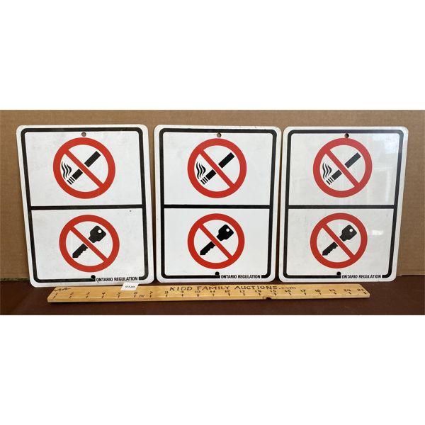 LOT OF 3 ONTARIO REGULATION METAL SIGNS