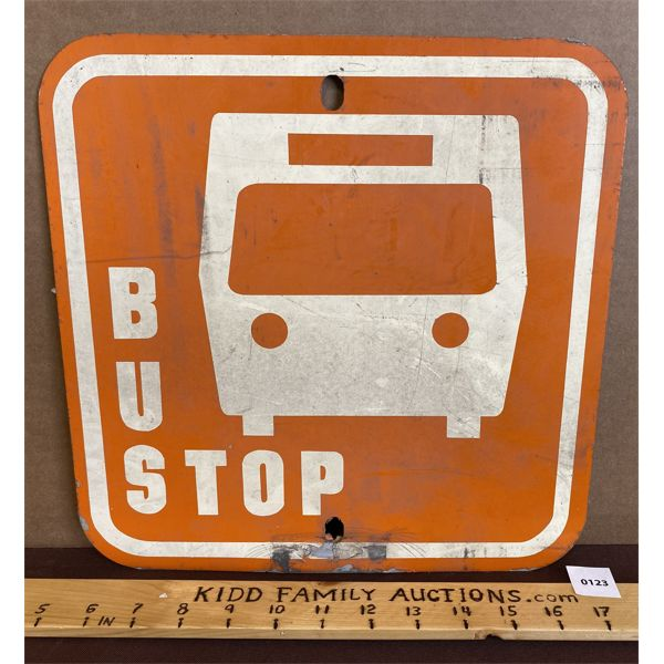 BUS STOP DOUBLE SIDED METAL SIGN