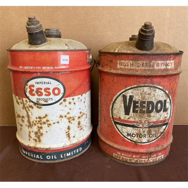 LOT OF TWO 5 GAL MOTOR OIL CANS