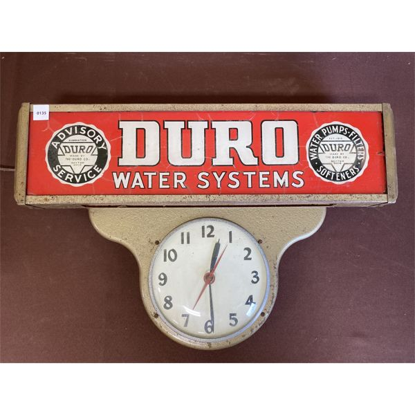DURO WATER SYSTEMS LIGHT UP CLOCK