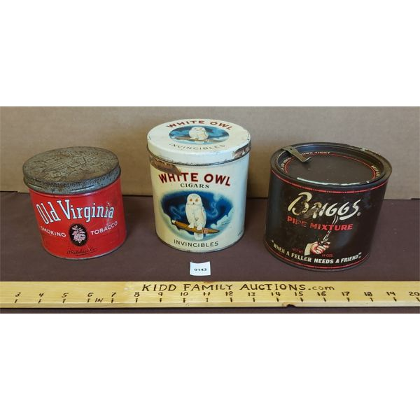 LOT OF 3 ASSORTED PIPE & CIGAR TOBACCO TINS