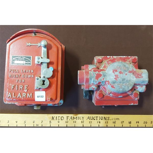 LOT OF 2 INDUSTRIAL PARTS, INCL. FIRE & WATCH BOX & WATER PUMP