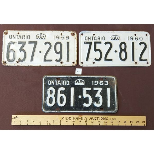 LOT OF 3 ONTARIO LICENSE PLATES