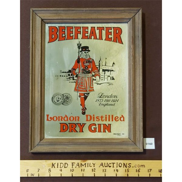 BEEFEATER LONDON DRY GIN FRAMED MIRROR ADVERTISEMENT
