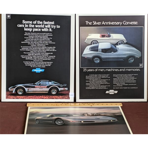 LOT OF 3 - CHEV CORVETTE MOUNTED POSTERS