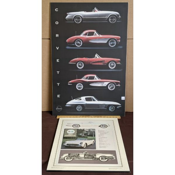 LOT OF 2 - CHEV CORVETTE MOUNTED POSTERS