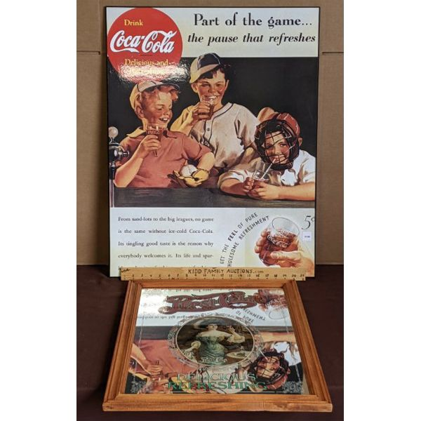 LOT OF 2 - PEPSI COLA & COCA COLA MOUNTED POSTER & FRAMED DECORATED MIRROR