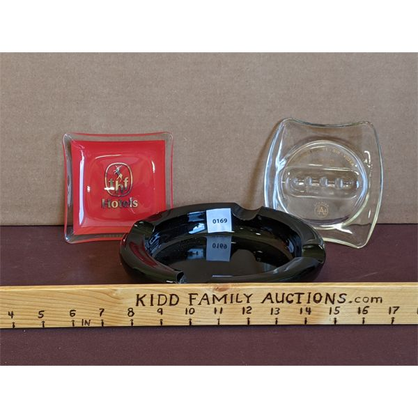 LOT OF 3 - HOTEL & ALCOHOL BRANDED ASHTRAYS - TINTED & PAINTED GLASS