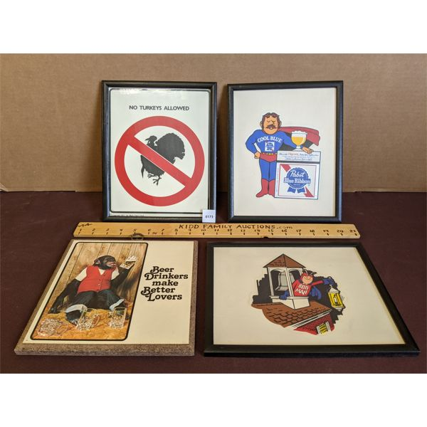LOT OF 4 - VARIOUS MOUNTED & FRAMED BEER ADS