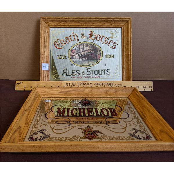 """LOT OF 2 - FRAMED """"COACH & HORSES"""" & """"MICHELOB"""" DECORATED MIRRORS"""