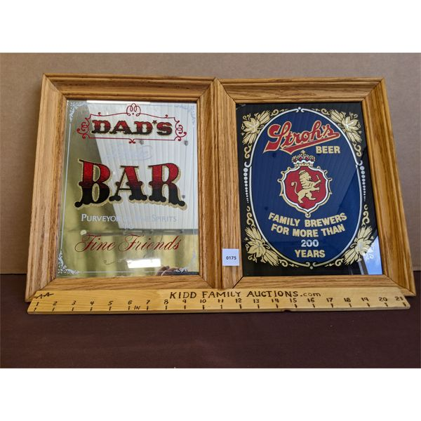 """LOT OF 2 - FRAMED """"DAD""""S BAR"""" & """"STROH'S BEER"""" DECORATED MIRRORS"""