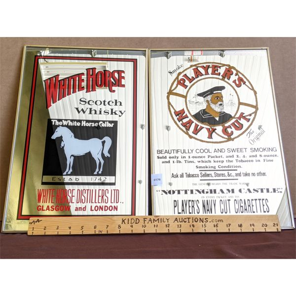 """LOT OF 2 - FRAMED """"WHITE HORSE SCOTCH WHSIKEY"""" & """"PLAYER'S NAVY CUT CIGARETTES"""" DECORATED MIRRORS"""