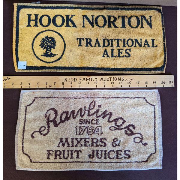 LOT OF 2 - HOOK NORTON & RAWLINGS BRANDED BAR CLOTHS