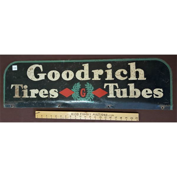 GOODRICH TIRES & TUBES DOUBLE SIDED TIN SIGN