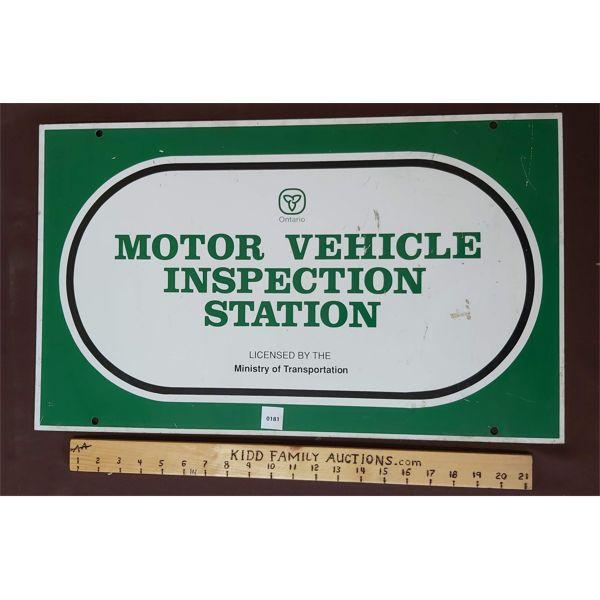 MOTOR VEHICLE INSPECTION STATION METAL SIGN