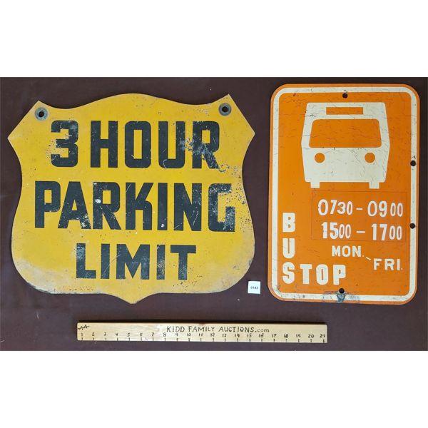 LOT OF 2 METAL SIGNS; 3 HR. PARKING & BUS STOP